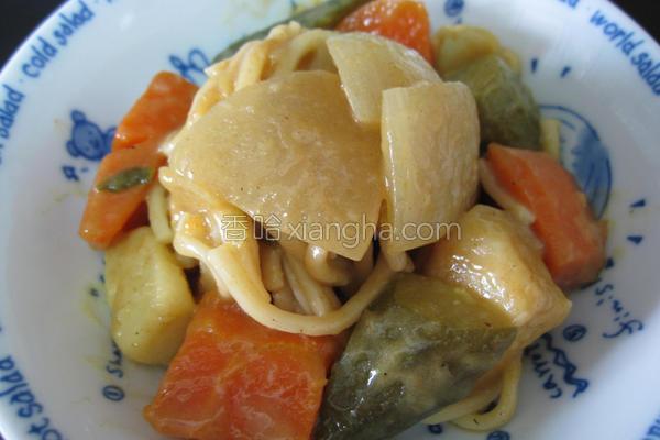 田园蔬菜咖哩炒面的做法