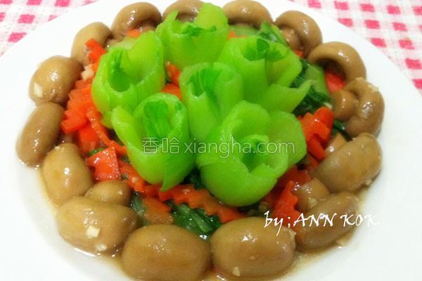 蘑菇炒油菜的做法