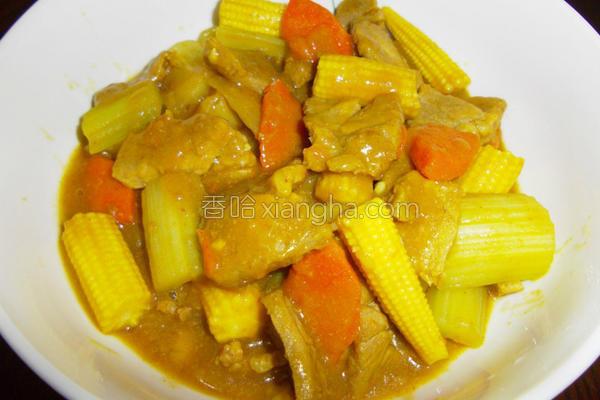 咖哩时蔬炖肉的做法