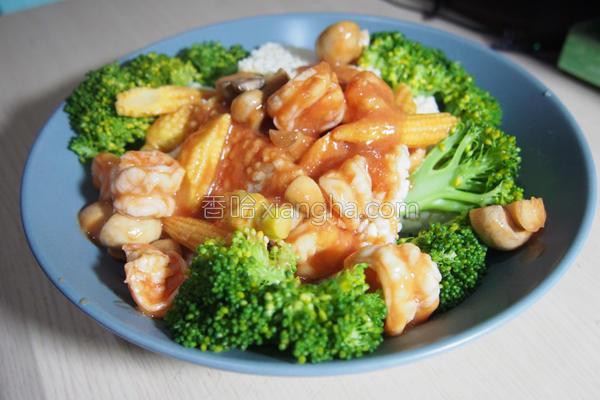 番茄虾仁锅粑的做法