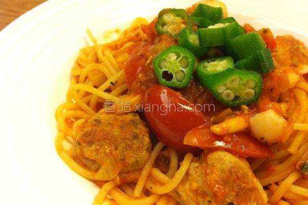 茄汁肉丸意大利面的做法