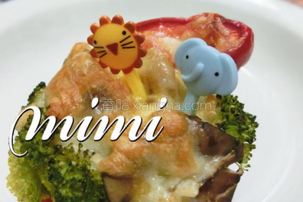 双菇焗彩椒的做法