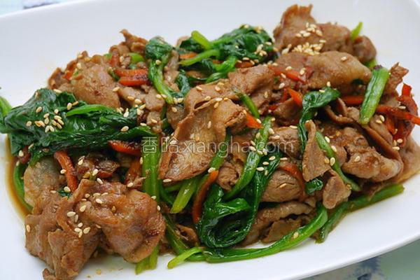 姜烧猪肉炒菠菜的做法