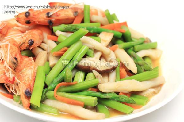 海鲜菇炒鲜虾芦笋的做法