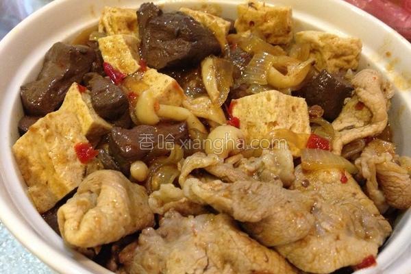 黑扁豆腐煲的做法