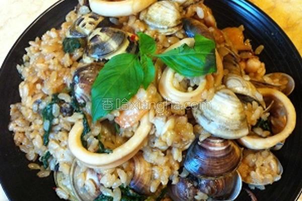 塔香海鲜炖饭的做法