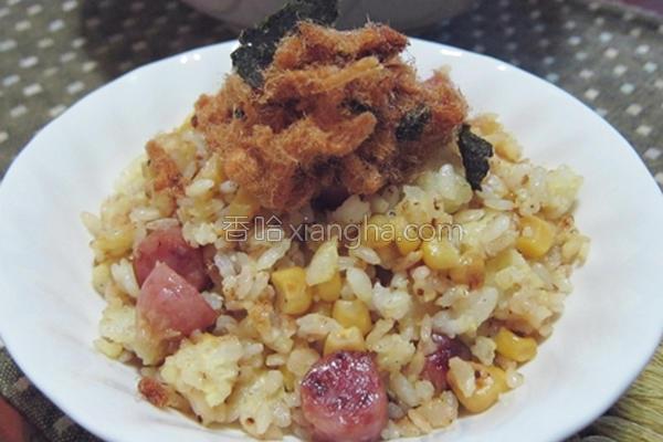 香肠玉米蛋炒饭的做法