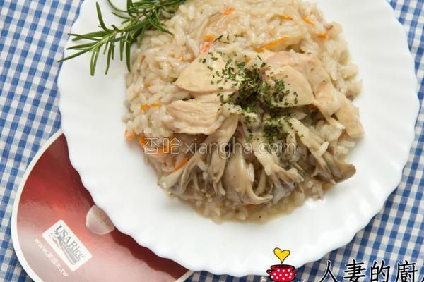 菇菇鸡炖饭的做法