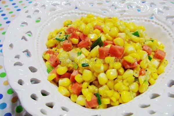 甜玉米炒热狗丁的做法