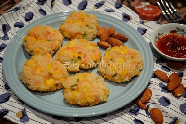 杏仁玉米虾饼的做法