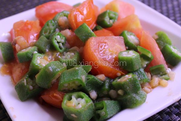 秋葵炒番茄顾肠餐的做法
