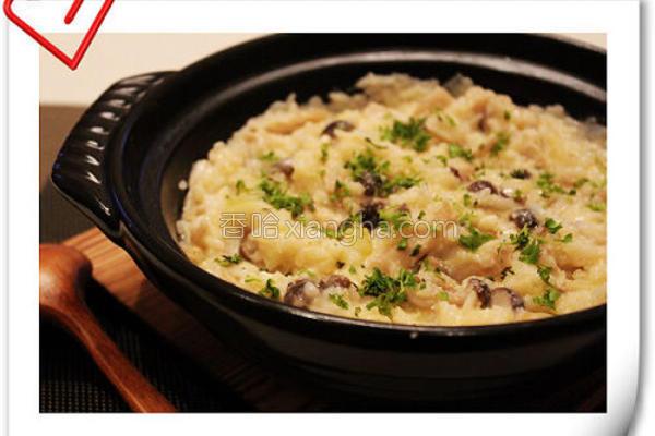 起司野菇炖饭的做法