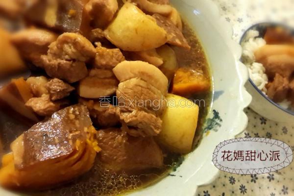 南瓜马铃薯炖肉的做法