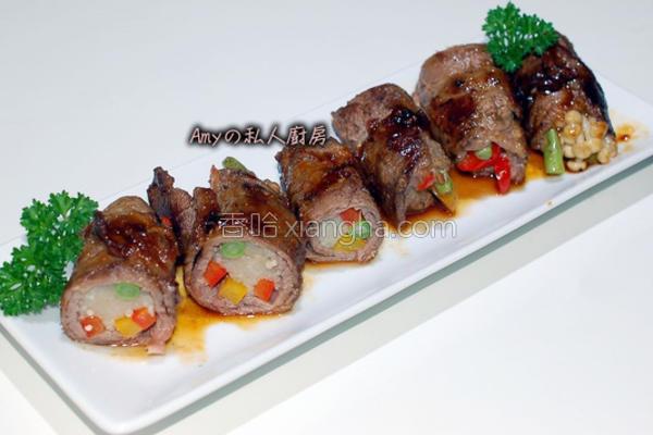 牛肉彩椒菇菇卷的做法