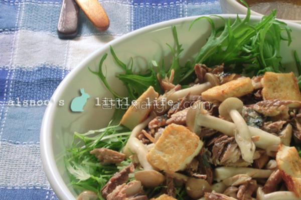 秋刀鱼水菜沙拉的做法