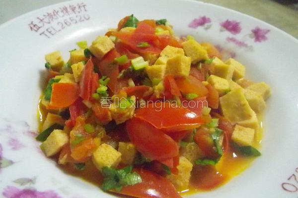 芹菜番茄冻豆腐的做法