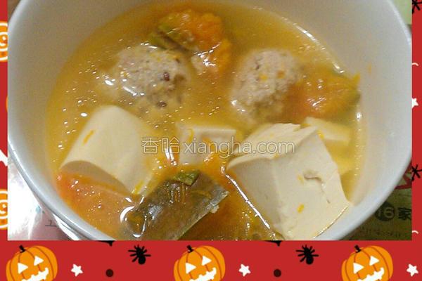 南瓜豆腐鸡肉丸汤的做法