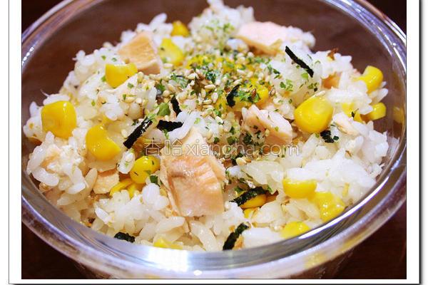 奶油香烤鲑鱼拌饭的做法