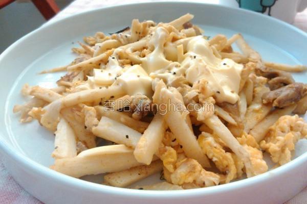 笋丝菇菇起司炒蛋的做法