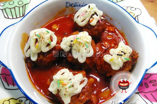 茄酱烩马铃薯肉丸的做法
