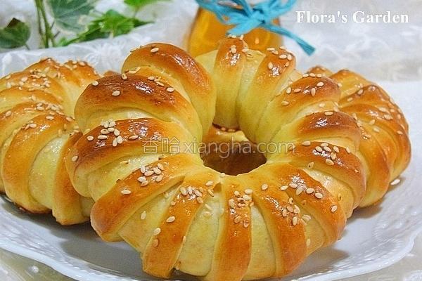 红豆花型面包的做法
