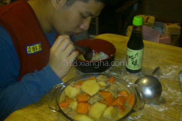 香豆炖角肉的做法