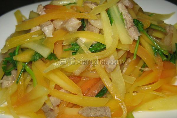 青木瓜炒肉丝的做法
