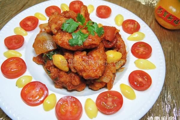 白果茄汁烩鸡柳的做法