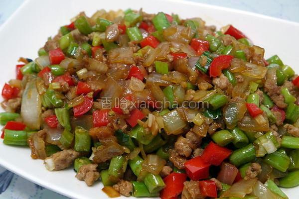 洋葱肉末炒四季豆的做法