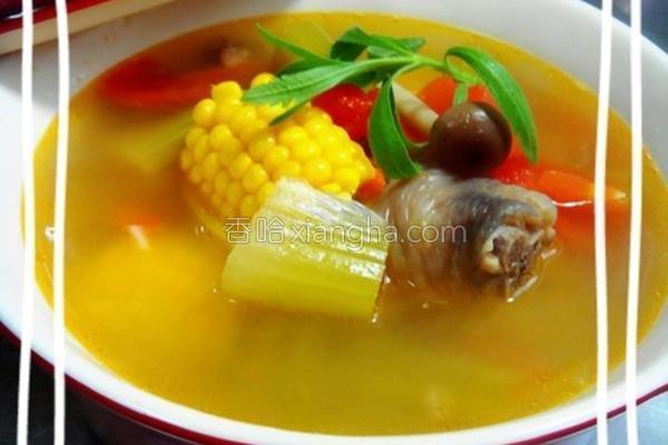 五蔬鸡汤的做法