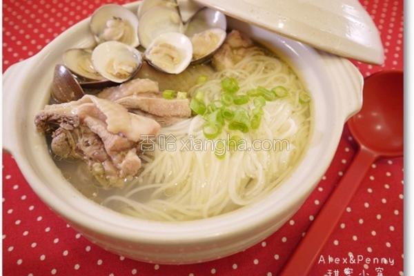 蒜头蛤蛎鸡汤面线的做法