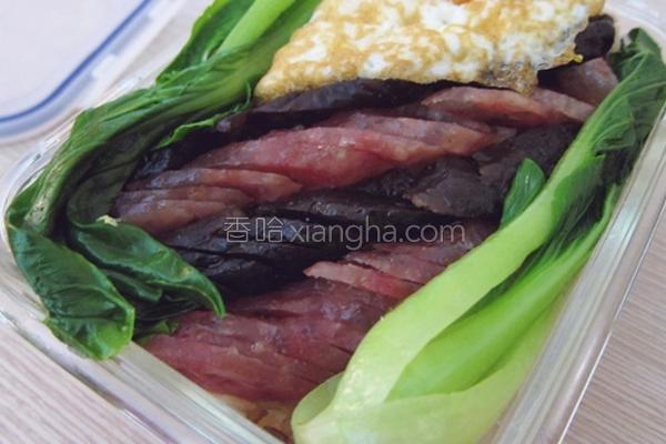 双味腊肠电锅煲饭的做法
