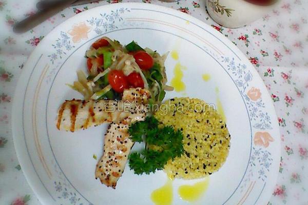 小米鸡肉温沙拉的做法