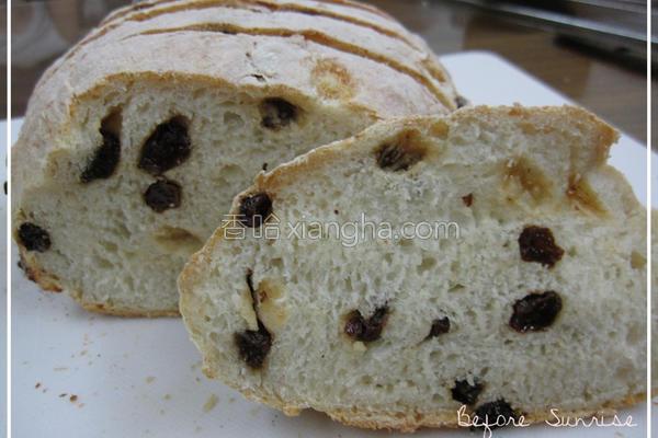 葡萄干免揉面包的做法