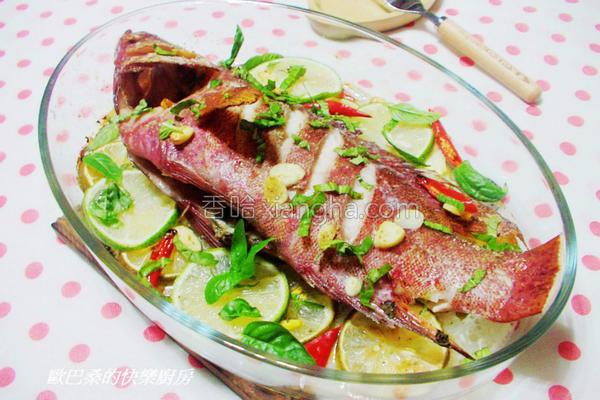 香草柠檬烤鲜鱼的做法
