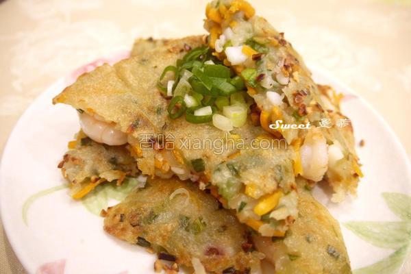 地瓜海鲜煎饼的做法