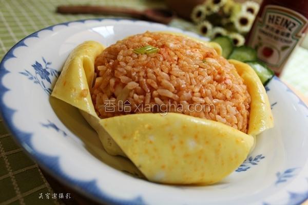 茄汁虾仁蛋包饭的做法