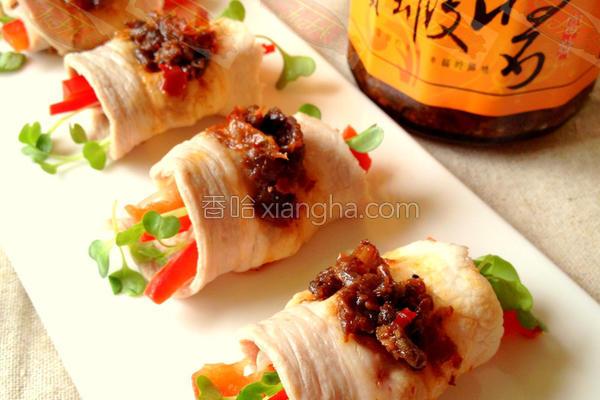 干贝虾芽菜猪肉卷的做法