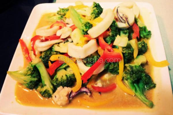 葡汁蔬菜炒墨鱼的做法