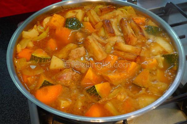 南瓜鲜肉咖哩火锅的做法