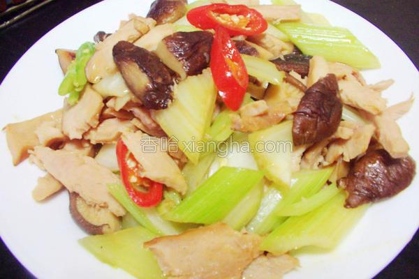 芹菜香菇鸡片的做法