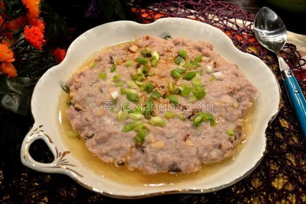 土鱿马蹄蒸肉饼的做法