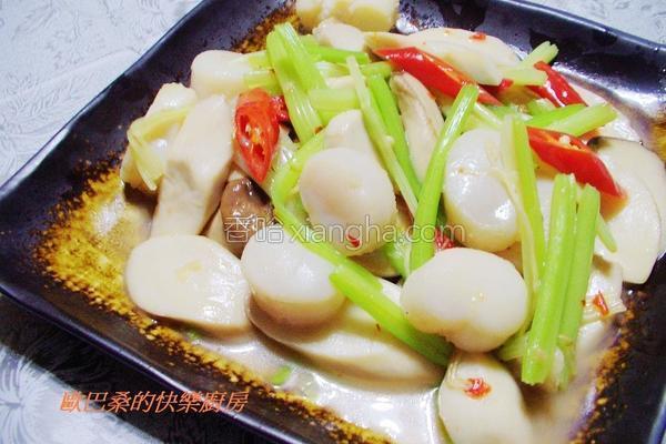 芹菜杏鲍菇炒干贝的做法