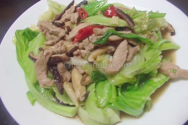高丽菜苗炒肉丝的做法