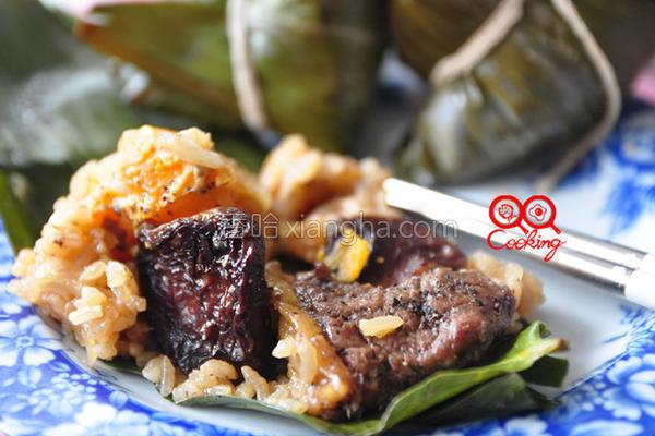 黑胡椒牛排粽的做法