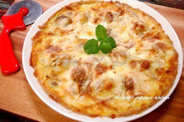 奶焗照烧鸡肉披萨的做法