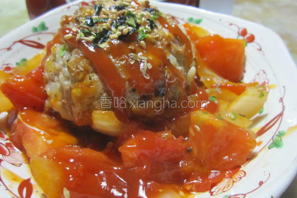 汉堡肉球佐番茄的做法