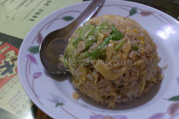 高丽菜紫米蛋炒饭的做法