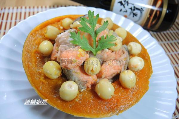 金瓜莲子蒸鲑鱼的做法