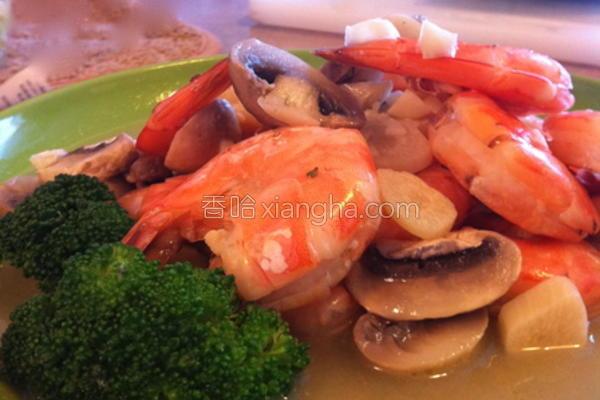 奶油白酒虾的做法